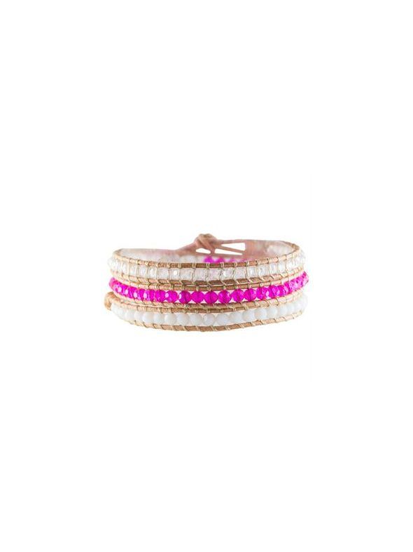 Brilliant Pink Crystal Beaded Wrap