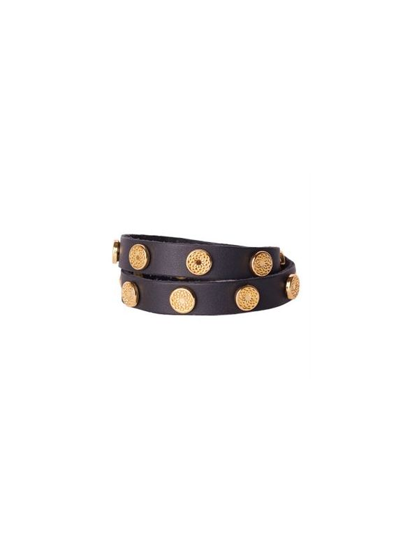 Black Leather Wrap with Gold Studs