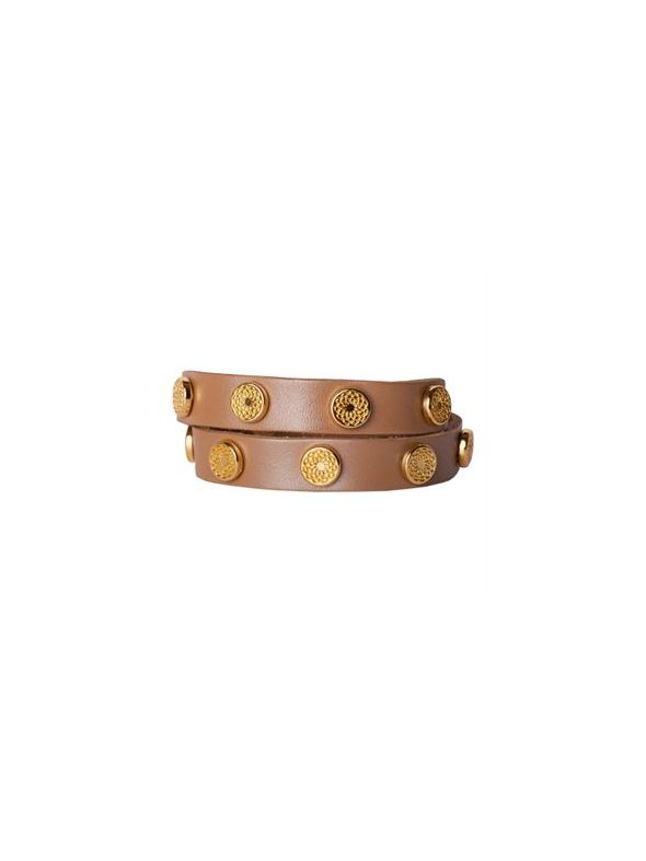 Champagne Leather Wrap with Gold Studs
