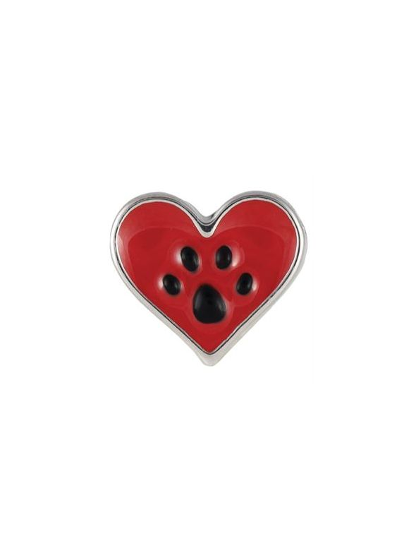 Dog Paw in Heart Charm