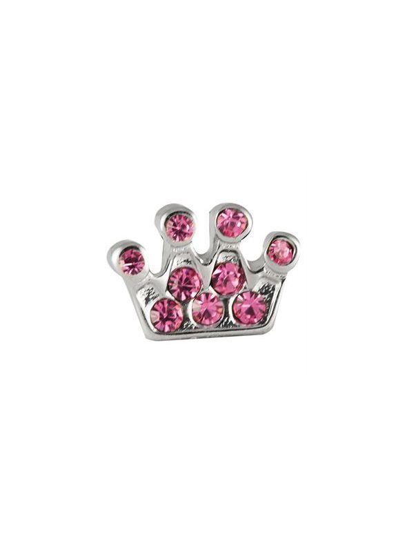Pink Crystal Crown Charm