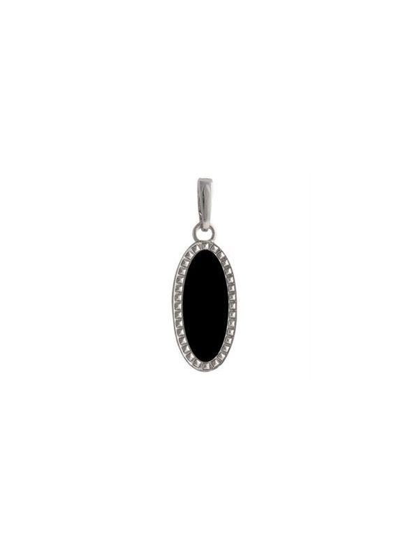 Black Oval Enamel in Silver Droplet