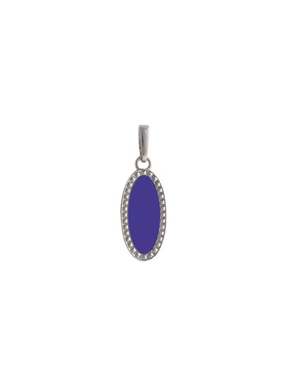 Azure Oval Enamel in Silver Droplet