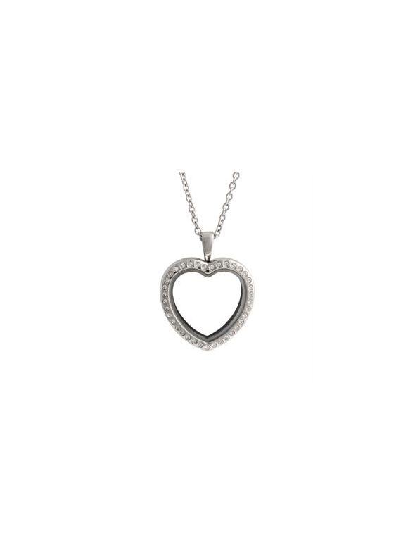 Large Silver Crystal Heart Locket