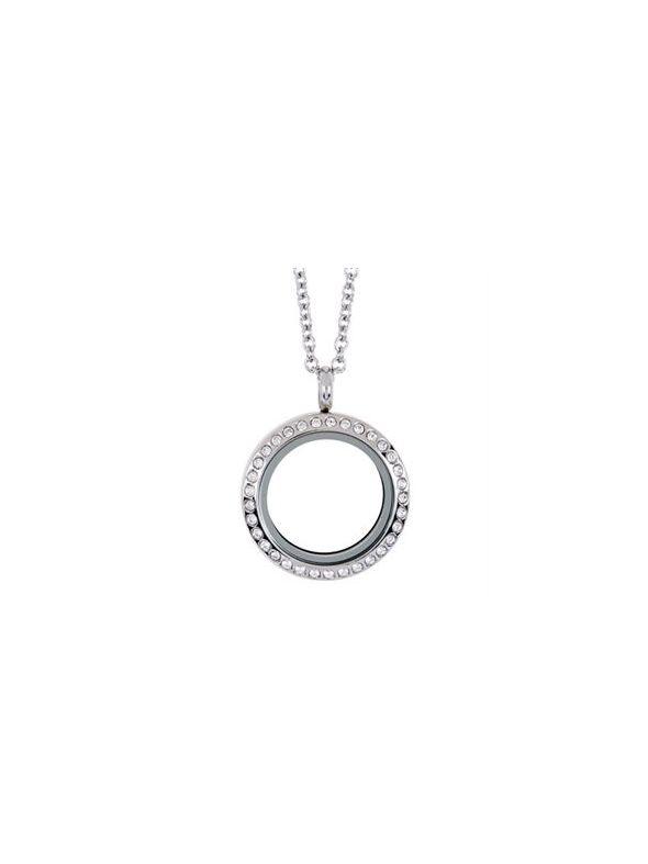 Medium Silver with Crystals Locket