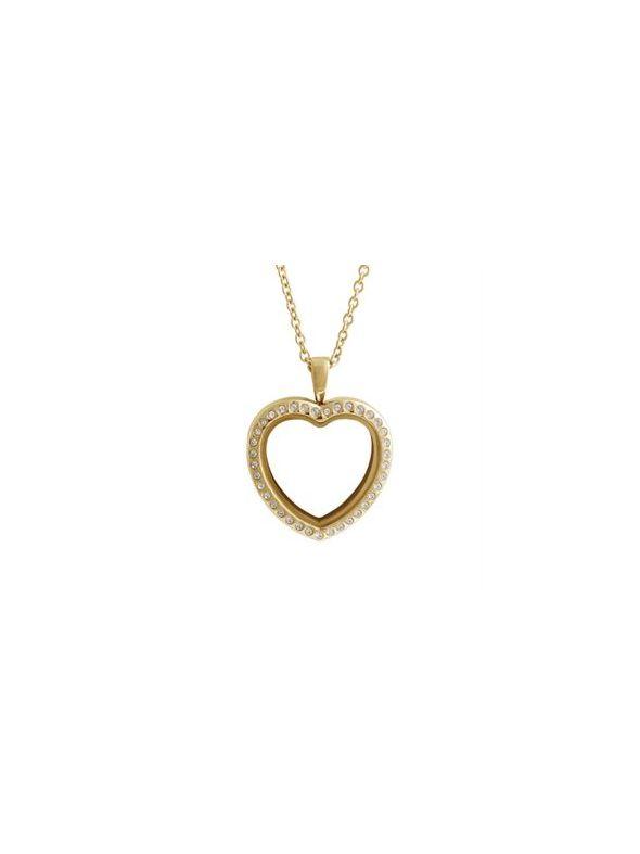 Large Gold Crystal Heart Locket