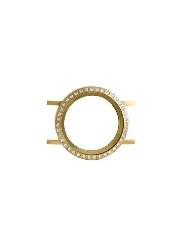 Build A Bracelet: Matte Gold with Crystals Locket