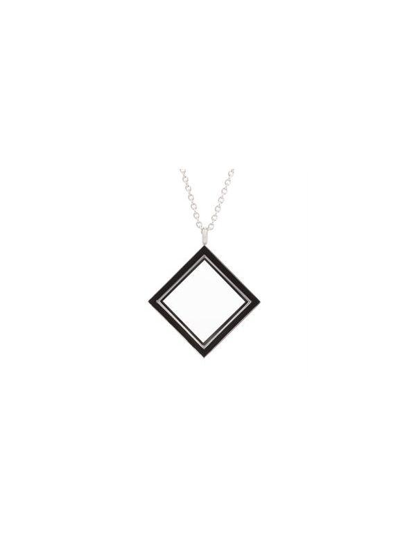 Silver Diamond Locket with Black Enamel