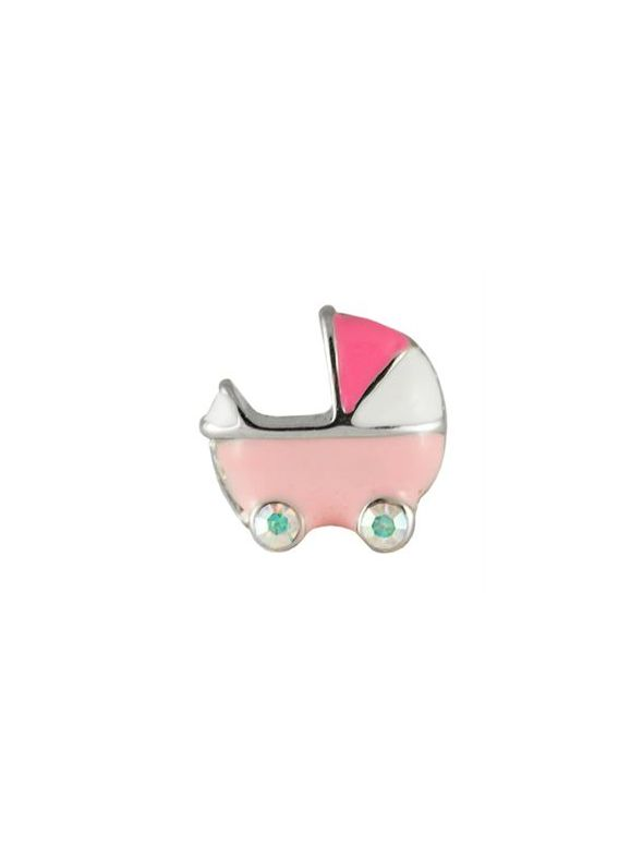 Pink Baby Carriage Charm