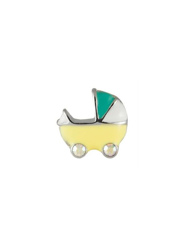 Yellow Baby Carriage Charm