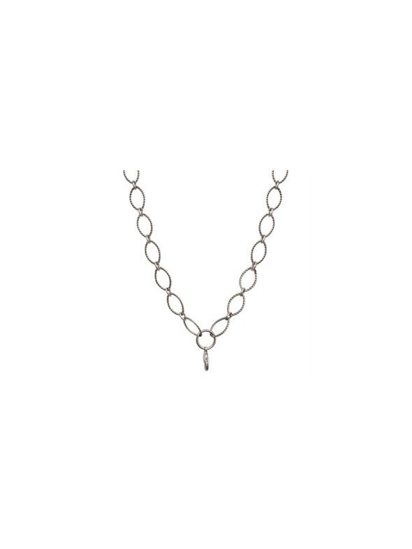 Nickel-Free Silver Textured Oval Link Chain - 32""