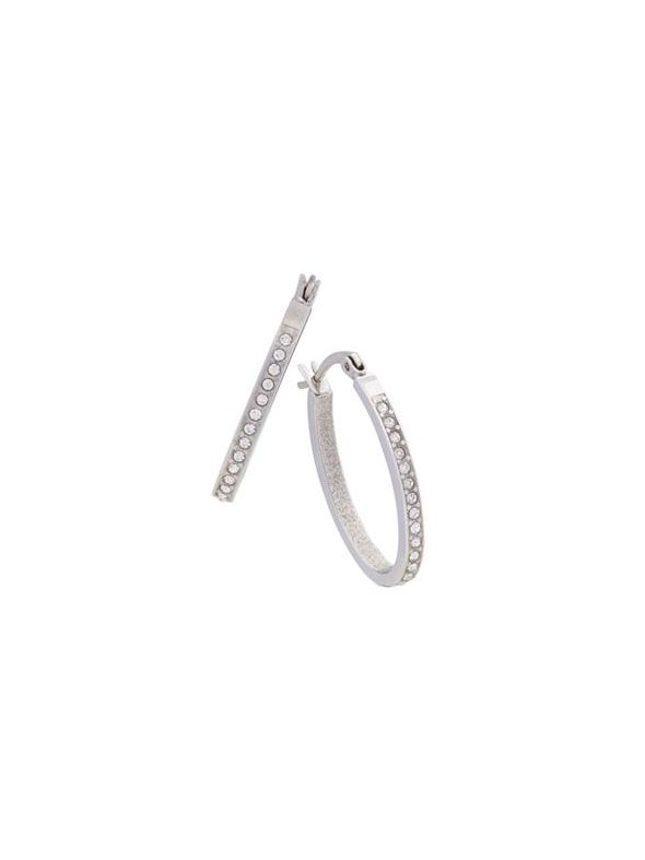 Crystal Hoops Silver