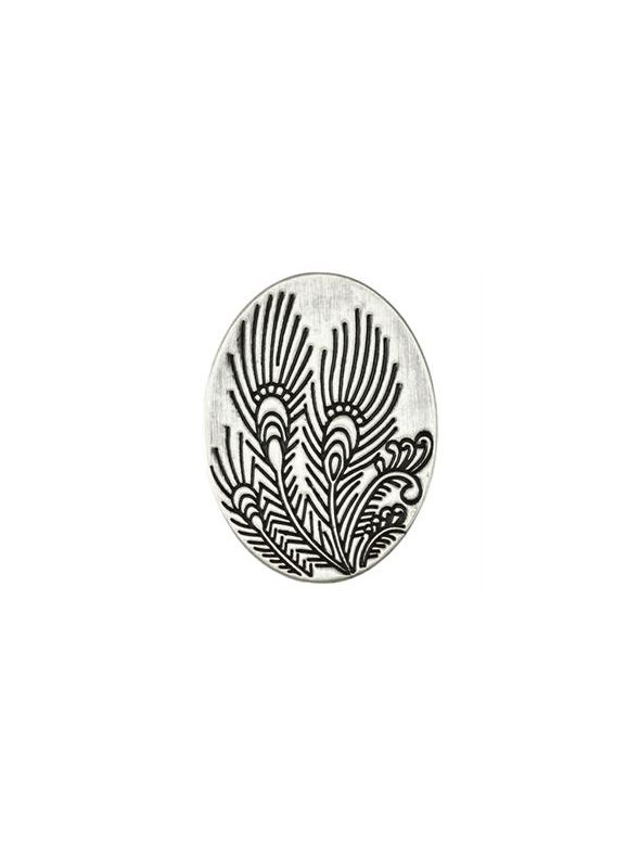 Silver Peacock Feather Oval Screen