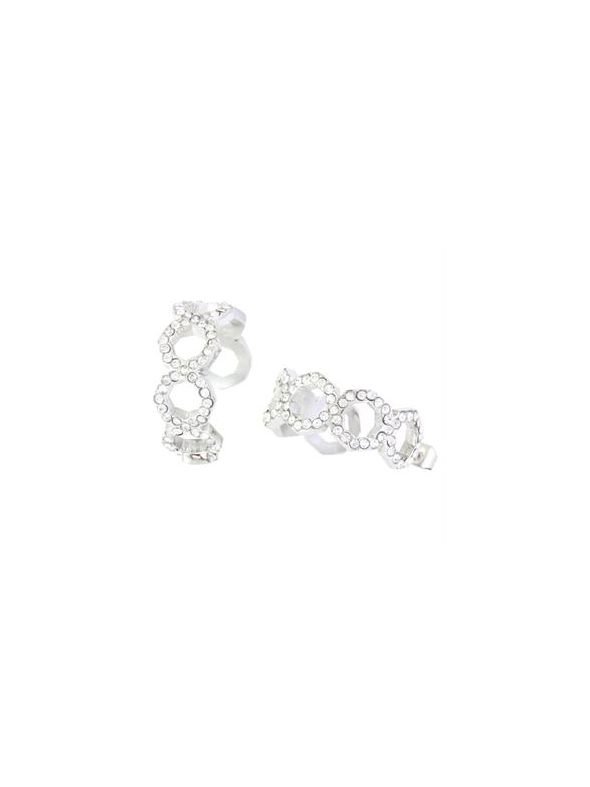 Silver Octagonal Earrings with Crystals