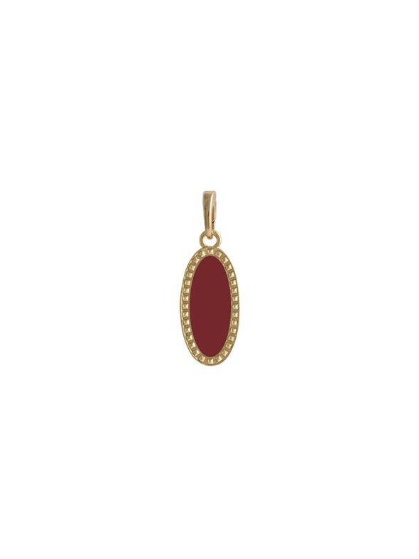 Burgundy Oval Enamel in Gold Droplet