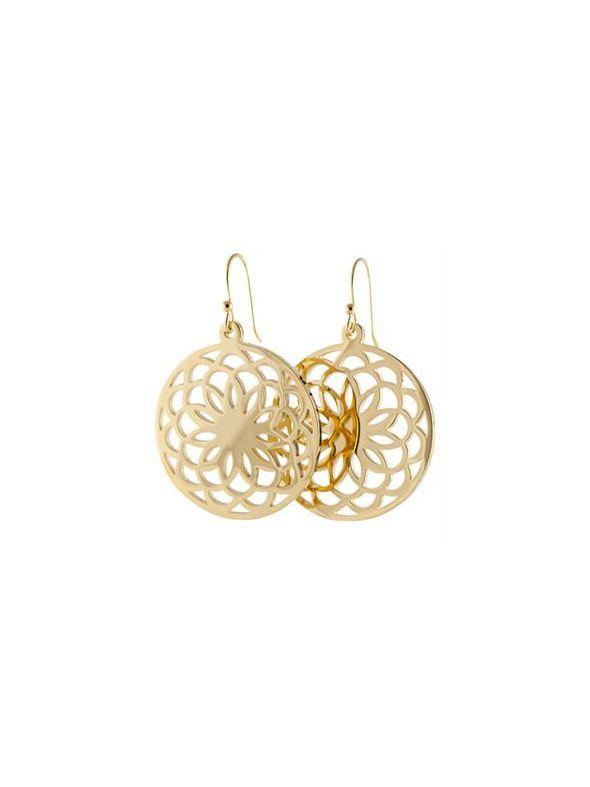 Gold Flower Screen Earrings