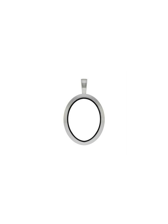 Silver Matte Oval Locket