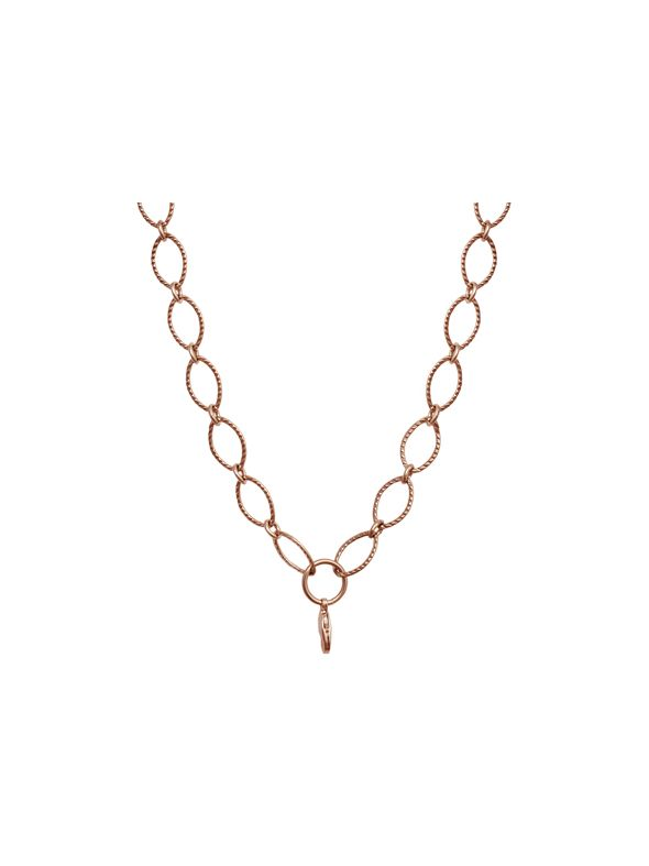 Rose Gold Textured Oval Link Chain - 32""