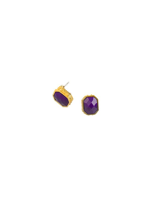 Faceted Stud Violet and Gold Earrings