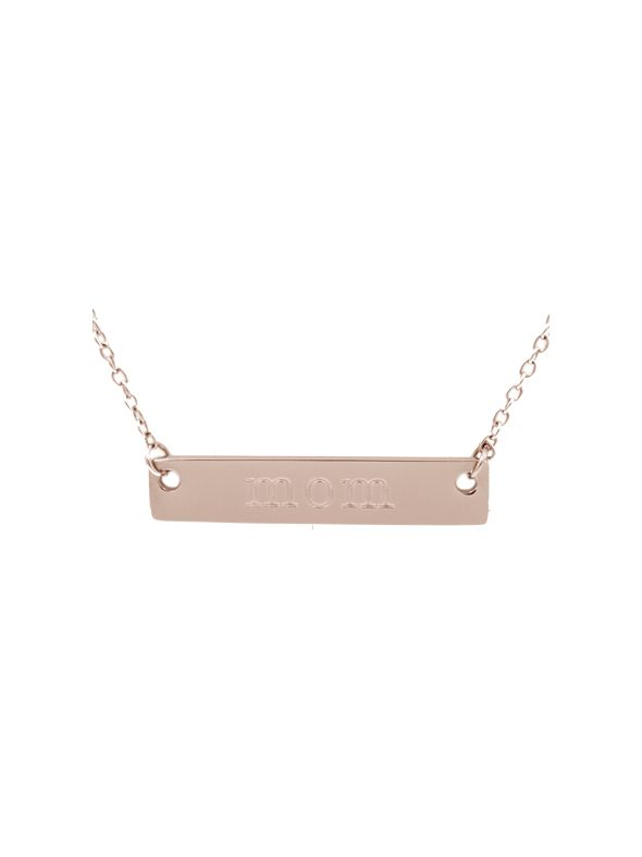 "Rose Gold ""Mom"" Bar Necklace - 16"""