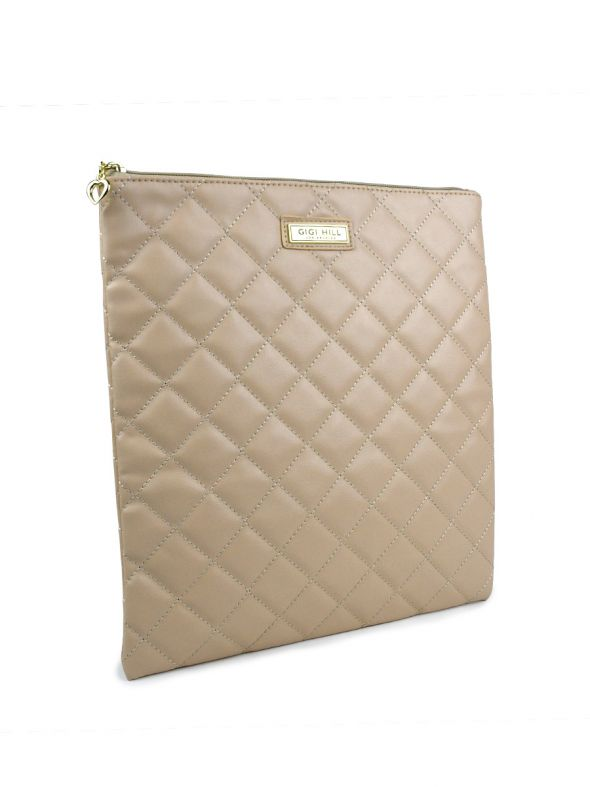 Large Scarlett Quilted Tan Multi-Functional Pouch