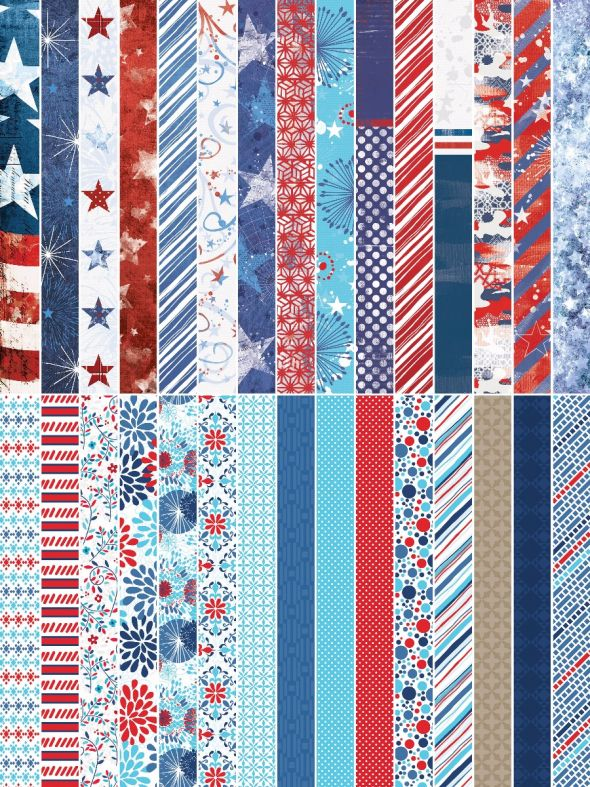 Red, White & Beautiful by Katie Pertiet Pocket Border Strips