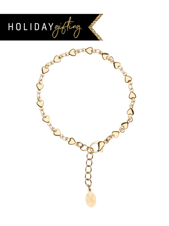 Gold Heart Bracelet Stocking Stuffer