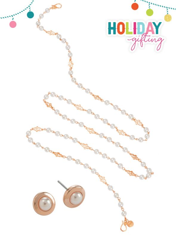 Rose Gold and Pearls Holiday Set