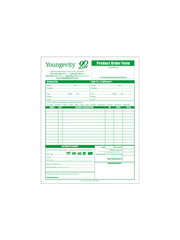 Youngevity Product Order Forms-English (10 Pack)