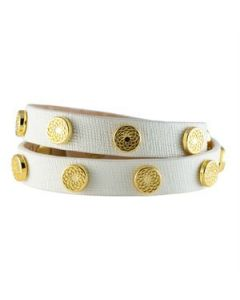 White Leather Wrap with Gold Studs