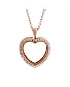 Large Rose Gold Crystal Heart Locket