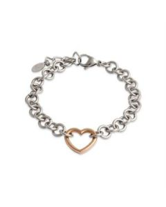 Silver with Rose Gold Heart Bracelet