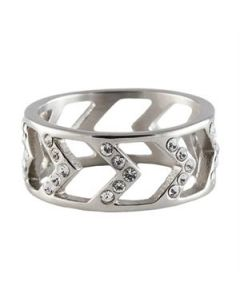 Silver Chevron Ring - Size 8