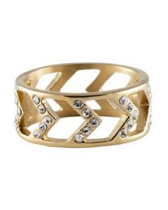 Gold Chevron Ring - Size 8