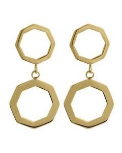 Gold Octagonal Duo Hoops