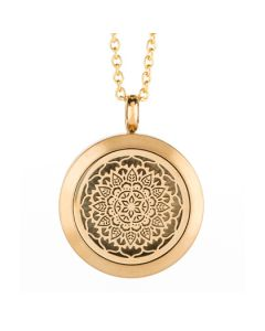 Floral Essential Oil Locket Gold